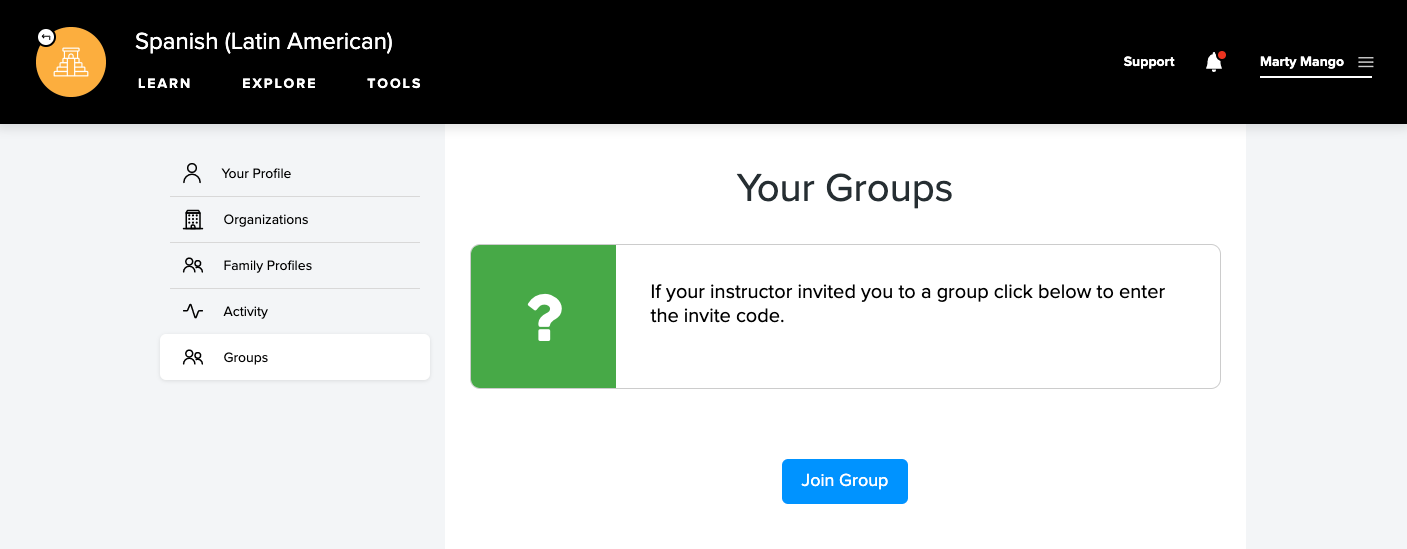 Groups tab selected on the profile page