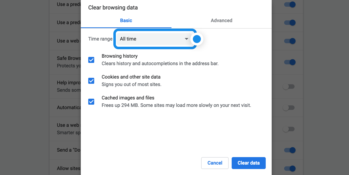 Screen shot shows how to clear data for all time