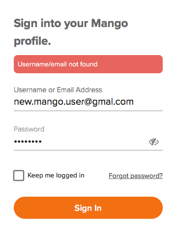 Username or Email not found