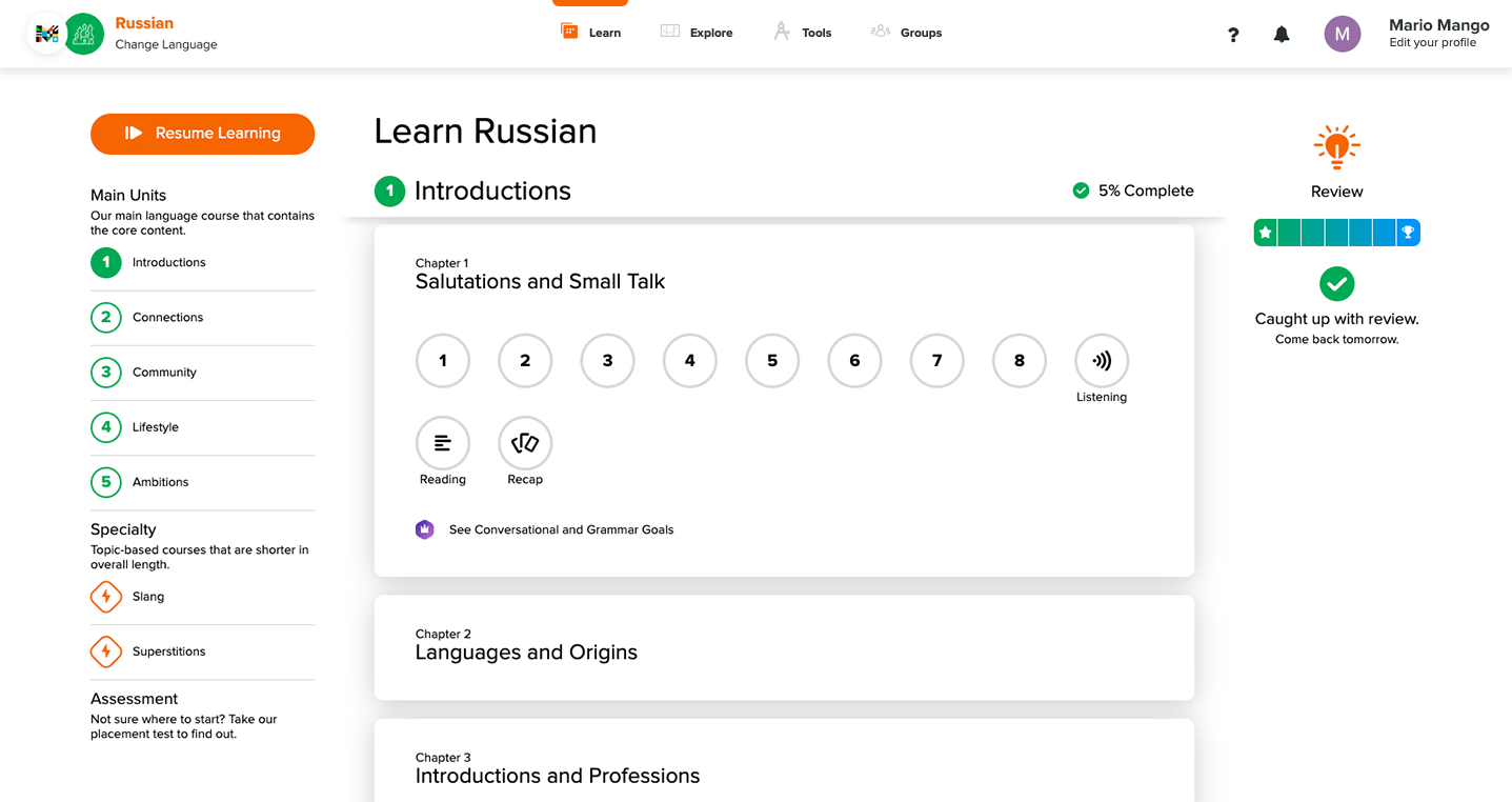 With the Learn tab selected, Main Units, Specialty Courses, and Review are visible
