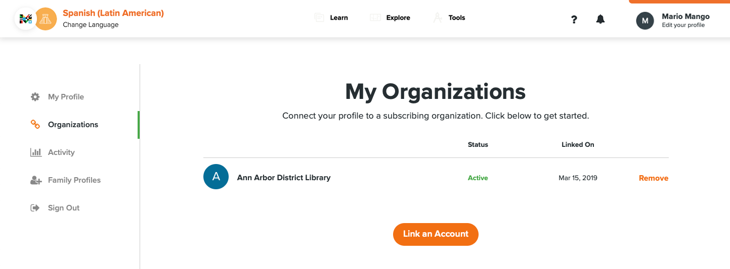 With the My Organizations tab on the left selected, the library the profile is linked to is visible