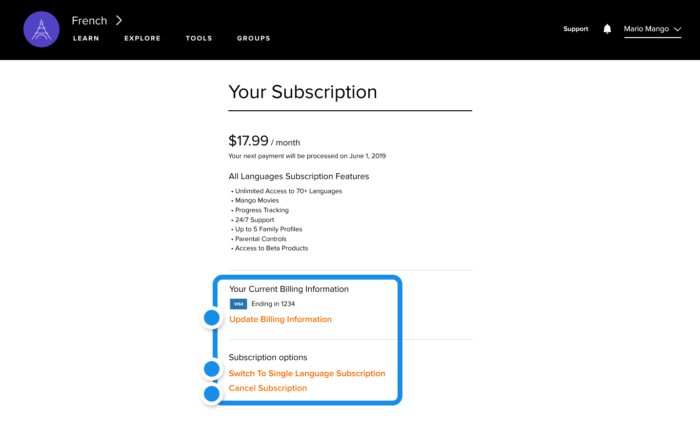 Blue Dots point to where changes can be made to the subscription near the bottom of the page