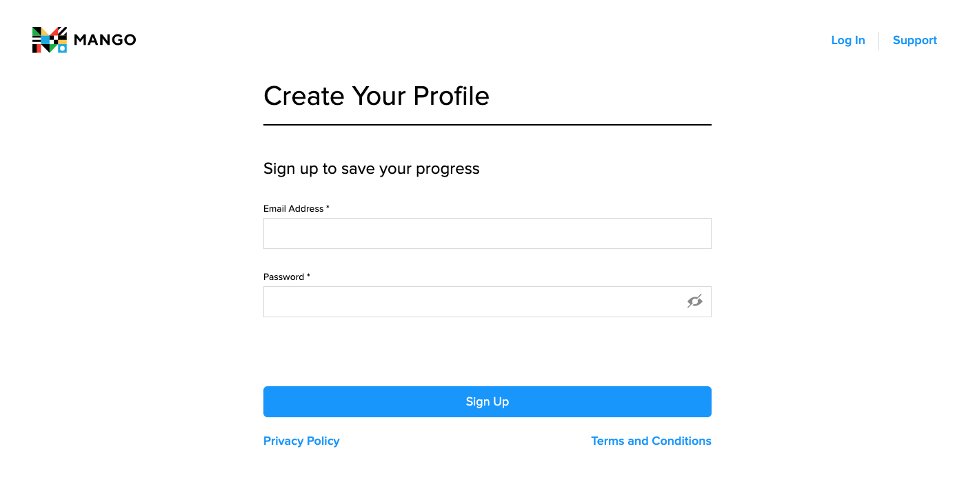 Create Profile Page with two spaces to fill out, email address and password