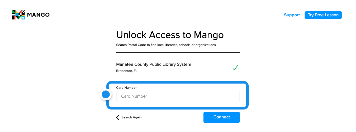 The empty library card entry field featured in the center of the screen and the Connect button underneath.