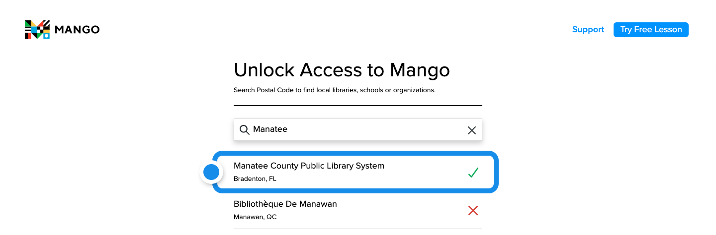 By entering Manatee into the empty search field, many libraries appear with Manatee County Public Library at the top next to a green check mark