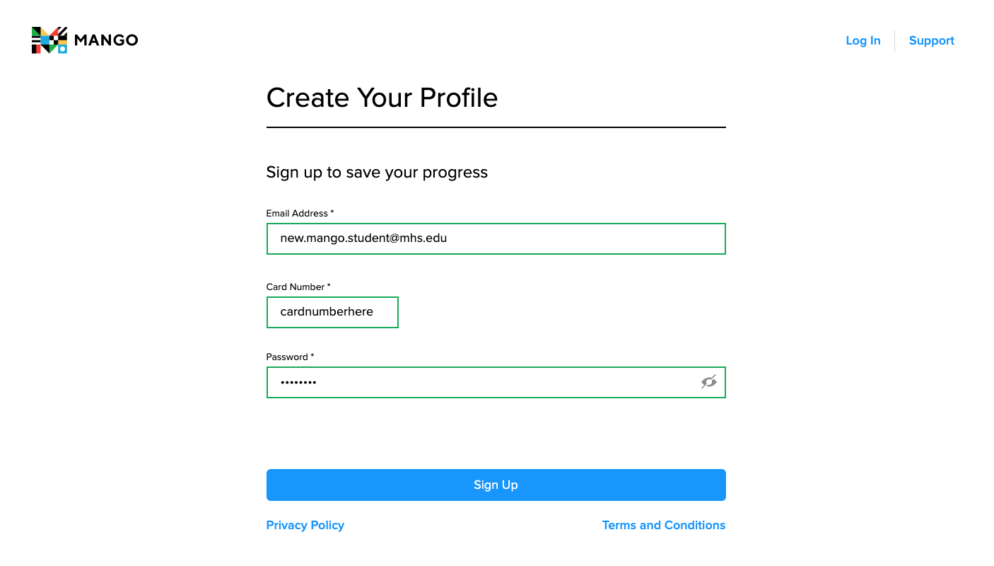 Profile creation page with all three fields filled out